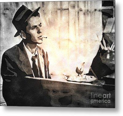 Frank Sinatra - Vintage Painting Metal Print by Ian Gledhill