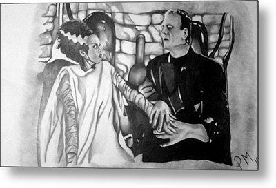 Frankenstein And His Bride Metal Print by Pauline Murphy