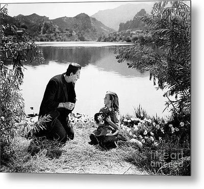 Frankenstein By The Lake With Little Girl Boris Karoff Metal Print