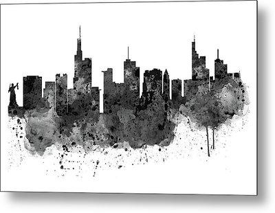 Frankfurt Black And White Skyline Metal Print by Marian Voicu