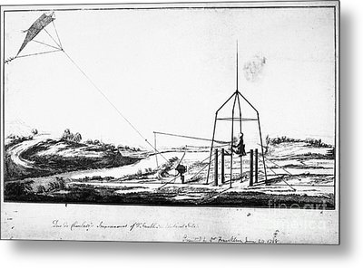 Franklin: Kite, 1788 Metal Print by Granger