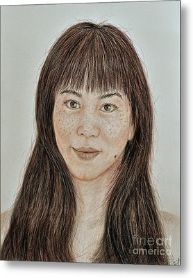 Freckle Faced Asian Beauty With Bangs  Metal Print