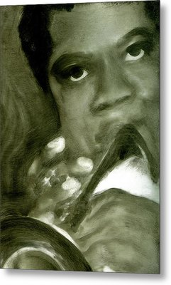 Metal Print featuring the painting Freddie Hubbard by FeatherStone Studio Julie A Miller