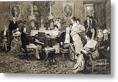Frederic Chopin Playing In The Salon Of The Musician And Composer Prince Anthony Radziwill Metal Print