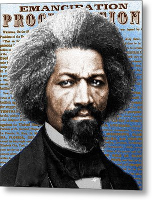 Frederick Douglass And Emancipation Proclamation Painting In Color  Metal Print by Tony Rubino