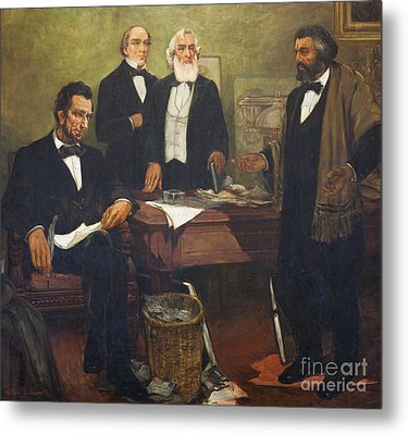 Frederick Douglass Appealing To President Lincoln And His Cabinet To Enlist African Americans Metal Print by William Edouard Scott