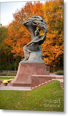 Fredric Chopin Monument And Autumn Metal Print by Arletta Cwalina