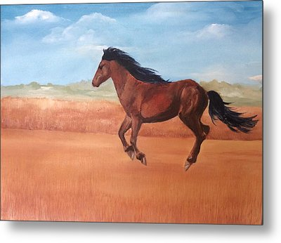Metal Print featuring the painting Free by Ellen Canfield