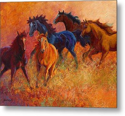 Free Range - Wild Horses Metal Print by Marion Rose