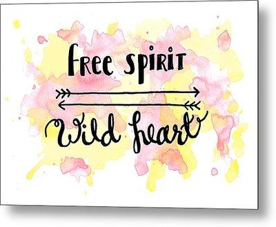 Free Spirit Wild Heart Watercolor Metal Print by Michelle Eshleman