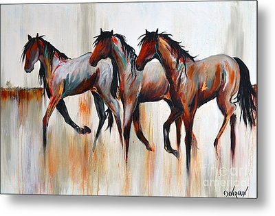 Metal Print featuring the painting Free Spirits by Cher Devereaux