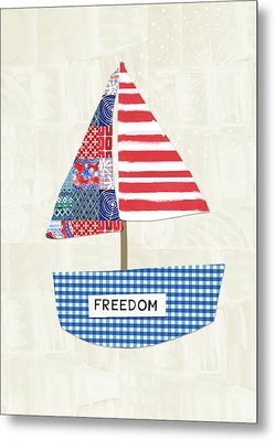 Freedom Boat- Art By Linda Woods Metal Print