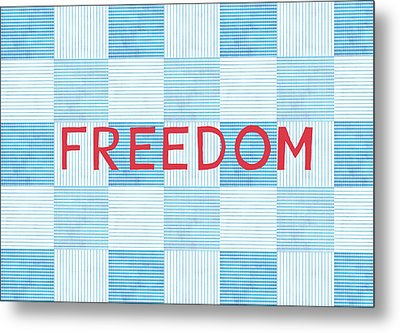 Freedom Patchwork Metal Print by Linda Woods
