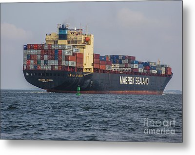 Freighter Headed Out To Sea Metal Print by Dale Powell