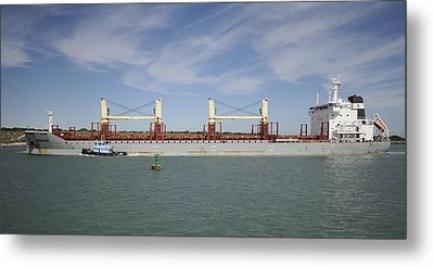 Metal Print featuring the photograph Freighter Heading To Port by Bradford Martin
