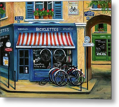 French Bicycle Shop Metal Print by Marilyn Dunlap