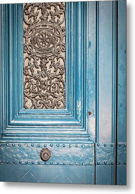 Metal Print featuring the photograph French Blue - Paris Door by Melanie Alexandra Price