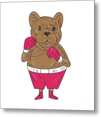 French Bulldog Boxer Boxing Stance Cartoon Metal Print