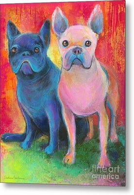 French Bulldog Dogs White And Black Painting Metal Print by Svetlana Novikova
