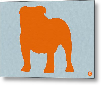 French Bulldog Orange Metal Print