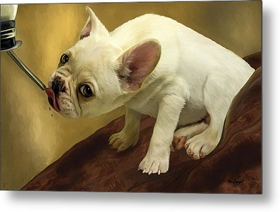 Metal Print featuring the digital art French Bulldog  by Thanh Thuy Nguyen