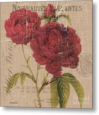 French Burlap Floral 3 Metal Print by Debbie DeWitt