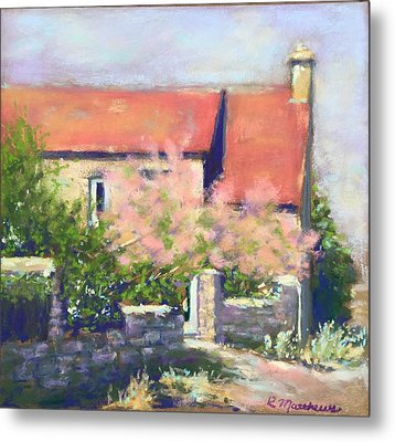 Metal Print featuring the pastel French Cottage by Rebecca Matthews