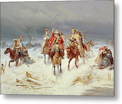 French Forces Crossing The River Berezina In November 1812 Metal Print by Bogdan Willewalde