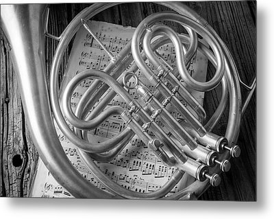French Horn In Black And White Metal Print