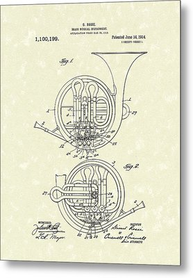 French Horn Musical Instrument 1914 Patent Metal Print by Prior Art Design
