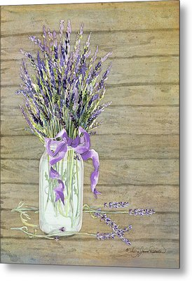 French Lavender Rustic Country Mason Jar Bouquet On Wooden Fence Metal Print by Audrey Jeanne Roberts