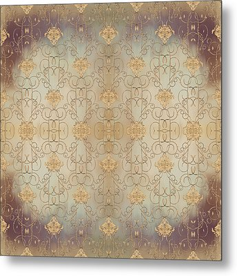 French Parisian Damask Swirl Vintage Style Wallpaper Metal Print by Audrey Jeanne Roberts