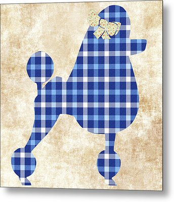 Metal Print featuring the mixed media French Poodle Plaid by Christina Rollo
