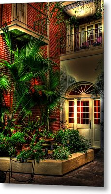 French Quarter Courtyard Metal Print by Greg and Chrystal Mimbs