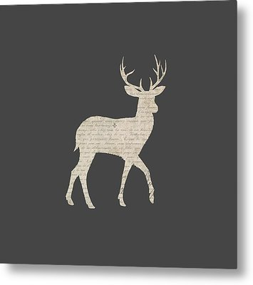 French Script Stag Metal Print by Amanda Lakey