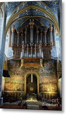 Fresco Of The Last Judgement And Organ In Albi Cathedral Metal Print by RicardMN Photography