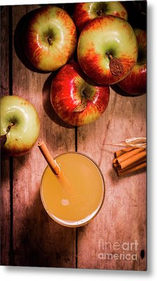 Fresh Apple Cider With Cinnamon Sticks And Apples Metal Print by Jorgo Photography - Wall Art Gallery