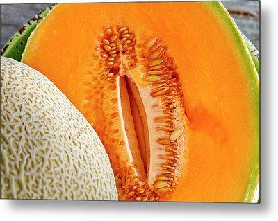 Fresh Cantaloupe Melon Metal Print by Teri Virbickis