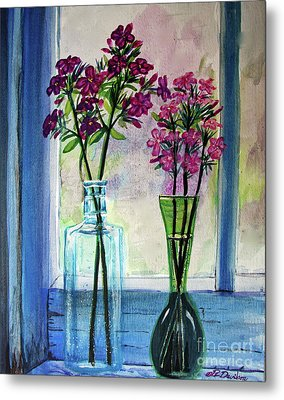 Metal Print featuring the painting Fresh Cut Flowers In The Window by Patricia L Davidson