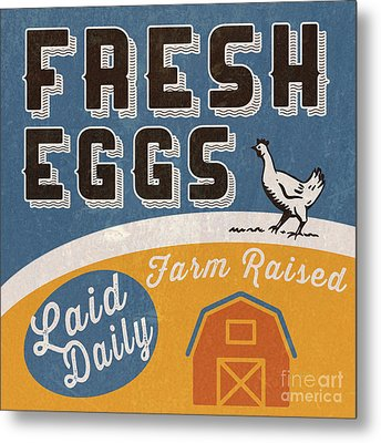 Fresh Eggs Laid Daily Retro Farm Sign Metal Print by Edward Fielding