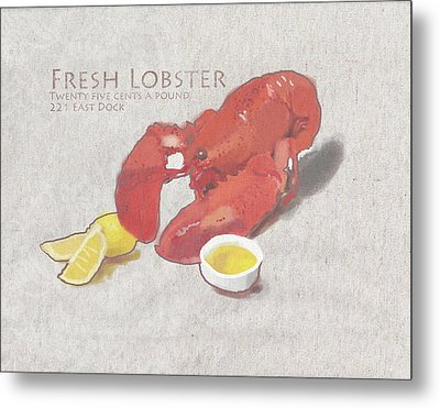 Fresh Lobster Sign Metal Print by Brad Burns