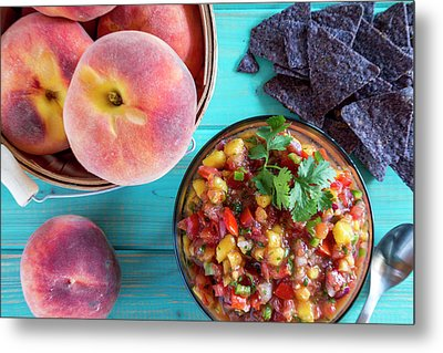 Fresh Peach Salsa Metal Print