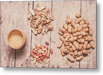 Fresh Peanuts, Shells, Raw Nuts And Peanut Butter Metal Print by Jorgo Photography - Wall Art Gallery