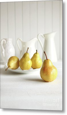 Fresh Pears On Old Table Metal Print by Sandra Cunningham