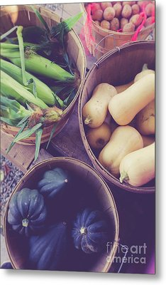 Fresh Picked Vegetables For Sale At A Farm Stand Metal Print