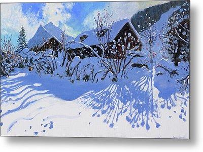 Fresh Snow, Morzine Village Metal Print