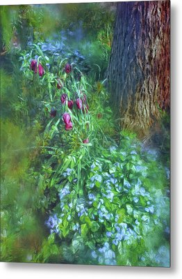 Metal Print featuring the photograph Fritillaria And Forget-me-nots  by Connie Handscomb