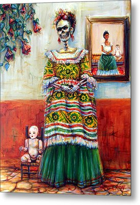 Metal Print featuring the painting Frida And Her Doll by Heather Calderon