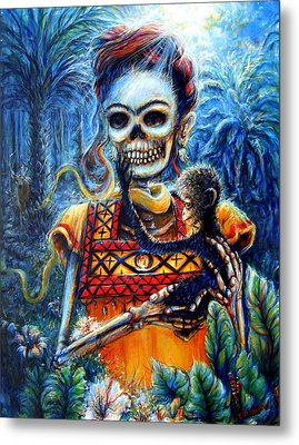 Metal Print featuring the painting Frida In The Moonlight Garden by Heather Calderon