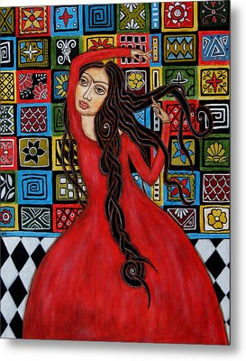 Frida Kahlo Flamenco Dancing  Metal Print by Rain Ririn